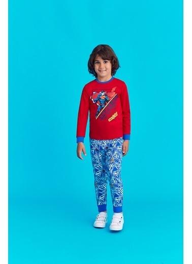 Superman Superman Lisanslı Erkek Çocuk Pijama Takımı Kırmızı Kırmızı